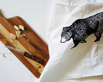 Grizzly Bear, Bear hand printed Tea Towel/ Flour Sack Towel,