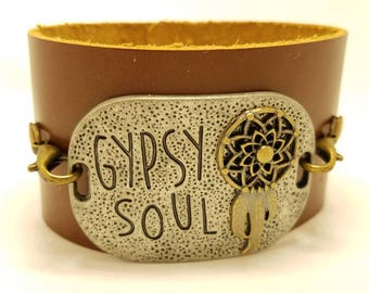 """Leather wristband- Brown leather cuff bracelet- """"gypsy soul"""" medallion- Womens leather cuff bracelet- 3rd & 9th Anniversary gift- Adjustable"""