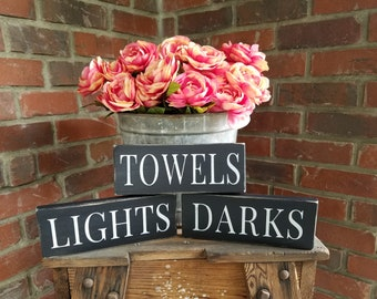 Lights Darks and Towels Sign Set, laundry sorting signs. laundry room sign set, laundry basket signs, laundry room wood signs, towels sign