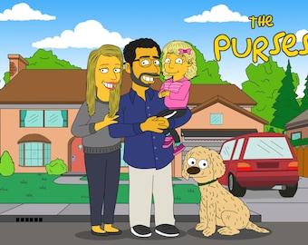 Custom Portrait, Simpsons Custom, Caricature Portrait, Custom Caricature, Family Caricature, Family Portrait, Caricature Drawing, Pet Custom