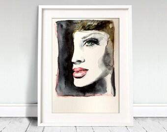 Girl portrait watercolor art print. Wall art, wall decor, digital print.