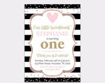 JUNE SALE Sweetheart Birthday Invitation - Little Sweetheart Pink Gold Invite - Valentine's Birthday Invitation- Love Heart Sweetie - Printa