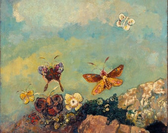 Butterflies by Odilon Redon, in various sizes, Canvas Giclee Print