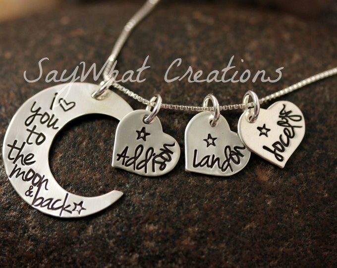 I Love You To The Moon Sterling Silver Moon Shaped Necklace Custom Hand Stamped with THREE hearts