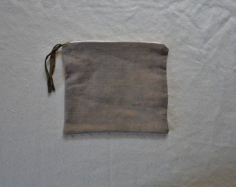 Earthy grey pouch natural dyes witch moon bag organizer purse zip wallet cosmetics travel makeup earthy boho bohemian style natural cases