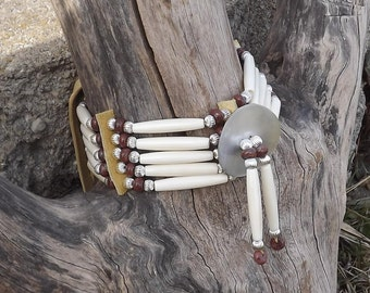 Bone hair pipe choker, jasper, black lip shell, gorget, native, leather, mens, womens, pow wow, regalia, brown, brick red, plains style