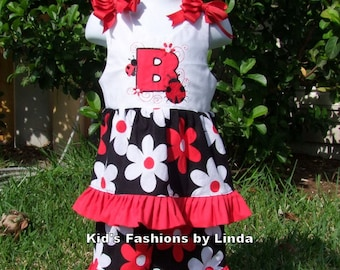 White/Black/Red  Ladybug Twirl Top/Capri Set