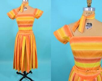 "ANNIVERSARY SALE // 1950s striped dress   orange yellow stripe long waisted full dress with scarf   vintage 50s dress   W 26"""