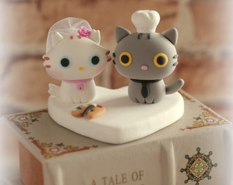 kitty and cat bride and groom wedding cake topper---k877