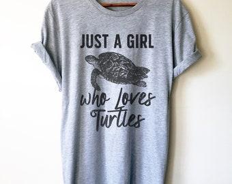 Just A Girl Who Loves Turtles Unisex Shirt - Turtle Shirt, Sea Turtle, Sea Turtle Gifts, Turtle Lover, Marine Biologist Gift, Activist Shirt