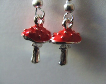 Toadstool, red and silver, earrings, woodland, nature, 3d, mushroom, red white dots, by NewellsJewels on etsy