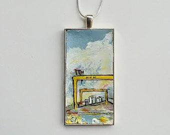 Samson and Goliath. Harland and Wolff, Samson and Goliath cranes, Belfast, pendant, necklace, handmade, titanic, Northern Ireland, celtic,