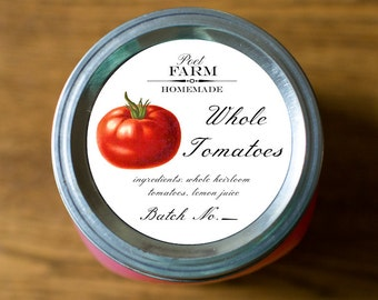 Customized Label Canned Goods, Tomatoes, Tomato Sauce, Salsa, Ketchup, Canning Label - Wide Mouth & Regular Mouth - All Text is Customizable
