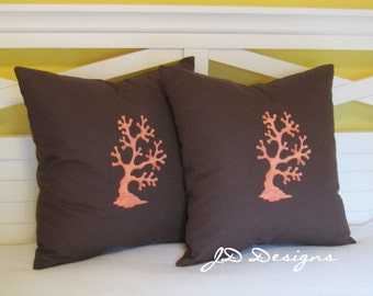 Waving Coral on Chocolate - Seaside Coastal - 18x18 (Set of 2) Pillow Cover Only - JD Designs