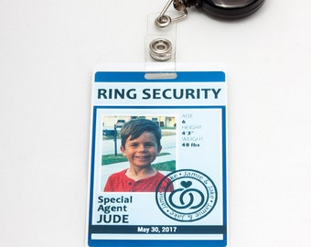 Ring Security ID Badge in BLUE - Wedding Ring Bearer Alternative
