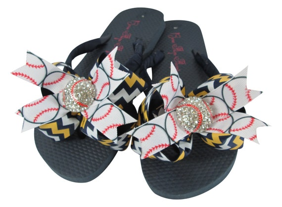 girls Bows and softball moms Baseball Flip Match Bow Gold Chevron and baseball Rhinestone Navy ladies Flops team Bling colors UOqRz