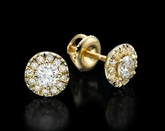 0.67 CT round cut G/VS2 diamond halo stud earrings 14K yellow gold