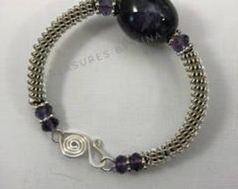 Wire Coiled Bracelet, Beaded Bracelet, Silver Wire Bracelet, Gift For Her