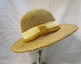 Vintage Straw Sun Hat Woven Straw Hat Straw Fedora Hat Vintage Beach Hat Woven Straw Sun Hat Summer Hat