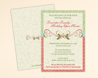 Christmas Open House Invitation, Holiday Party, Luncheon, Cocktail Party, Holiday Birthday Party, Corporate Christmas Invite, C1510
