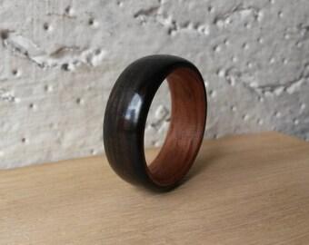 Handmade Bentwood Ring - Ebony on a Brazilian Mahogany Lining