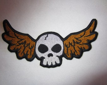 Embroidered Iron On Applique Skull And Wings, Winged Skull, Flying Skull, Iron On Patch