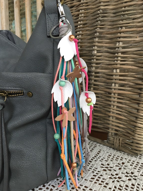 "Boho Fringe Tassel Bag Charm + Keyring Faux Leather Tassel Real Leather Leaves, Flowers & Wood Beads 8.5"" Long + Clip (OOAK49)"