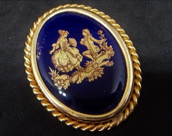 c.1960s Limoges Porcelain Brooch... Regency Courting Couple... Cobalt Blue Gold