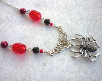The Black Widow Necklace - Red Version Gothic Victorian Spider Vampire