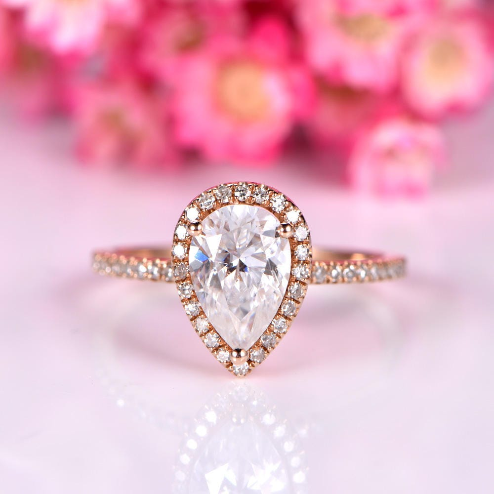 1.5ct Moissanite engagement ring 6x9mm pear shape Charles &