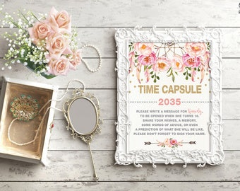 Boho TIME CAPSULE Floral Baby Shower Table Sign Decoration. Girls First Birthday Decor. Bohemian Dreamcatcher Garden Tea Party Shower FLO12A