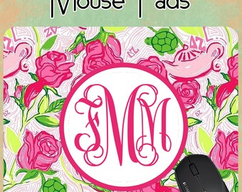 Monogram Mousepad - Lilly Pulitzer Inspired Mousepad - Personalized Mousepad,Office pad, desk,