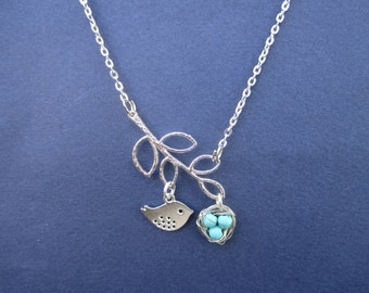 Bird Nest with Leaf branch Lariant Necklace