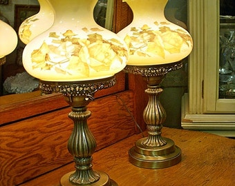 Matching Pair Yellow ROSE HURRICANE LAMPS With Hand Painted Shades