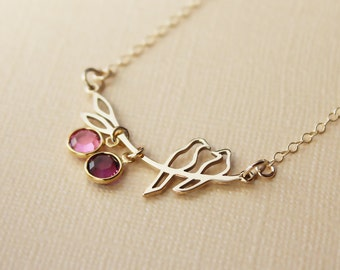 Birthstone necklace for mom gift for new mom