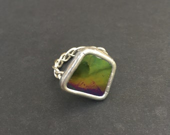 Rainbow Glass Ring size 81/2
