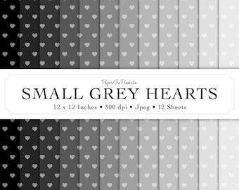 """Digital Paper """"Small Grey Hearts"""" • Instant Download • Scrapbooking Supply • High Quality • Commercial Use"""