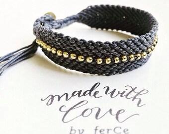 Silver Beaded Macrame Bracelet