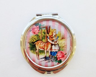 Alice In Wonderland Pocket MIrror Make Up Mirror Cute Cosmetics Compact Mirror Vintage Cute Gift Fairytale Gift Gifts For Her