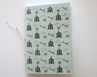 Circus Journal handprinted Notebook