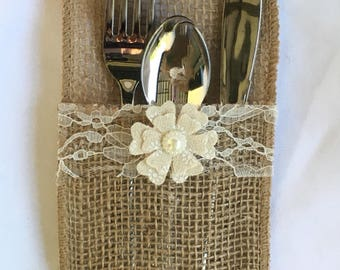 burlap silverware holder (set of 10)