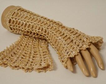 Gold Lace Boho Wrist cuffs, Romantic Crochet Mitts