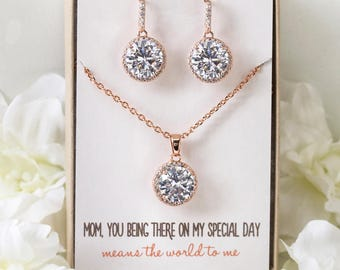 Rose Gold Earring and Necklace Set, Mother of the Bride Jewelry Set, Mother of the Groom Jewelry Set Rose Gold Bridal Party Jewelry N557-RGD