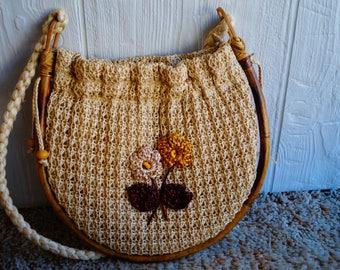 Vintage Handmade Woven Bamboo Shoulder Bag - Flowers