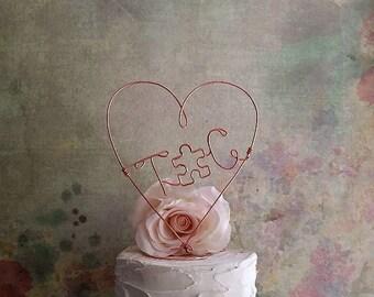 Wedding Cake Topper PUZZLE Piece with Initials, Monogram Wedding Cake Decoration, Rustic Weddings Centerpiece, Initials Wedding Centerpiece