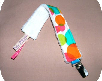White pacifier clip with large dots multicolors