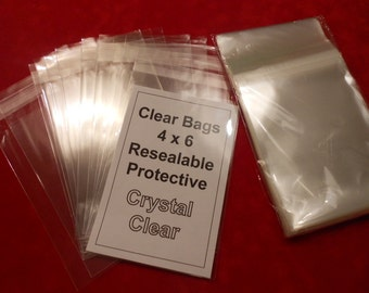 Clear Bags Resealable Bags Crystal Clear for 4 x 6 Photos/Art