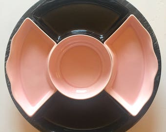 Pink and Black Ceramic Round Serving Dish Complete Set with Lazy Susan