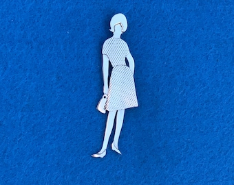 Sterling Silver Retro Lady Brooch/Pendant #11