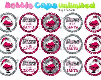 "15 Bling it on Santa 2 Download for 1"" Bottle Caps (4x6)"